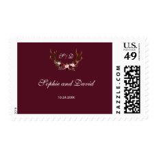 Burgundy Marsala Floral Antlers Wedding Postage