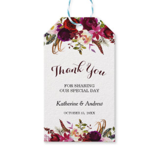 Burgundy Marsala Floral Autumn Wedding Thank You Gift Tags
