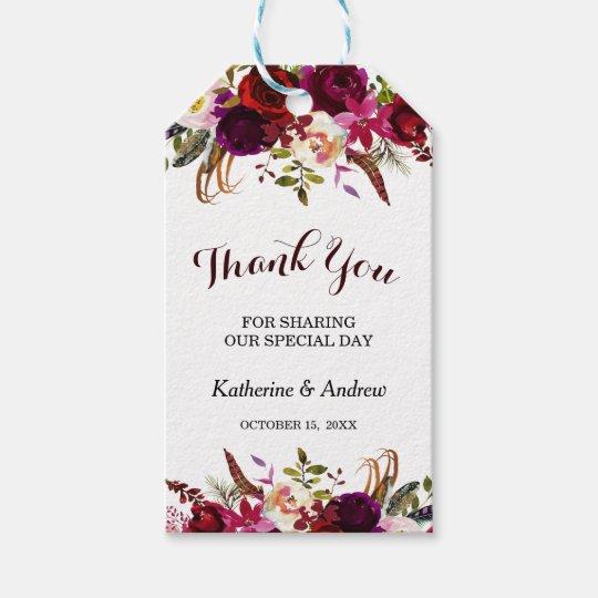 Wedding Thank You Gift Tags: Burgundy Marsala Floral Autumn Wedding Thank You Gift Tags