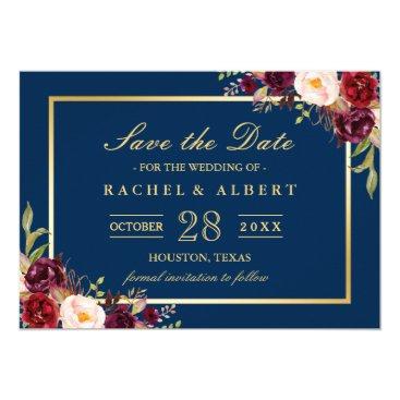 CardHunter Burgundy Marsala Floral Blue Wedding Save the Date Card