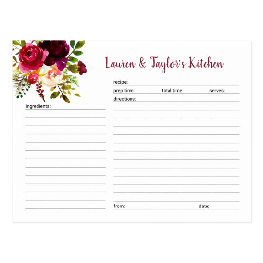 burgundy marsala floral bridal shower recipe card