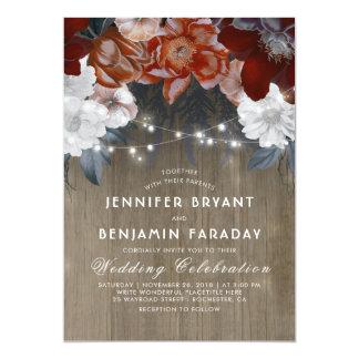 Burgundy Marsala Floral Chic String Lights Wedding Card
