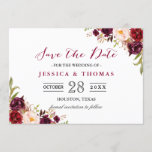 """Burgundy Marsala Floral Chic Wedding Save the Date<br><div class=""""desc"""">Personalize this &quot;Burgundy Marsala Floral Chic Wedding Save the Date Card&quot; to announce your wedding date to family and friends! You can easily customize it to match your wedding colors, styles and theme. (1) For further customization, please click the &quot;customize further&quot; link and use our design tool to modify this...</div>"""
