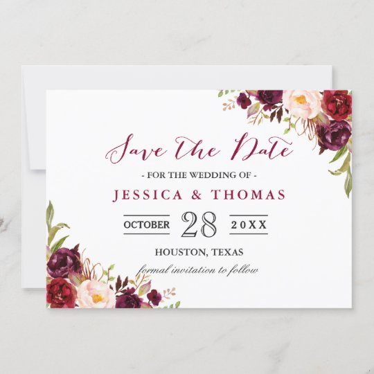 Save The Date Wedding Floral Ornament Wedding Floral: Burgundy Marsala Floral Chic Wedding Save The Date