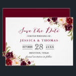 """Burgundy Marsala Floral Chic Wedding Save the Date Card<br><div class=""""desc"""">Personalize this &quot;Burgundy Marsala Floral Chic Wedding Save the Date Card&quot; to announce your wedding date to family and friends! You can easily customize it to match your wedding colors, styles and theme. (1) For further customization, please click the &quot;customize further&quot; link and use our design tool to modify this...</div>"""