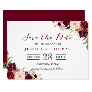 burgundy marsala floral chic wedding save the date card - Wedding Invitations And Save The Dates