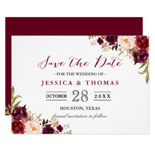 Matching Save The Date And Wedding Invitations: Burgundy Marsala Floral Chic Wedding Save The Date Card