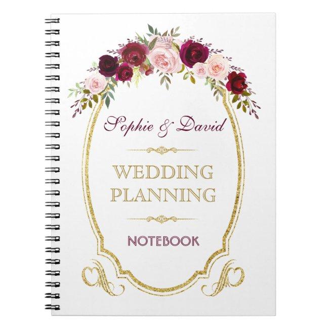 Burgundy Marsala Floral Fall Wedding Planner Notebook