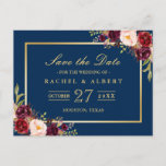 """Burgundy Marsala Floral Gold Wedding Save the Date Announcement Postcard<br><div class=""""desc"""">Burgundy Marsala Floral Gold Wedding Save the Date Postcard . (1) For further customization,  please click the &quot;Customize Further&quot; Link and use our design tool to modify this template. The black background and text color is changeable.  (2) If you need help or matching items,  please contact me.</div>"""