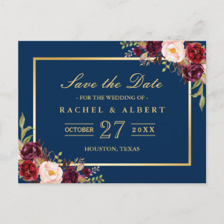 Burgundy Marsala Floral Gold Wedding Save the Date Announcement Postcard