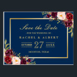 "Burgundy Marsala Floral Gold Wedding Save the Date Postcard<br><div class=""desc"">================= ABOUT THIS DESIGN ================= Burgundy Marsala Floral Gold Wedding Save the Date Postcard . (1) For further customization, please click the &quot;Customize&quot; button and use our design tool to modify this template. The black background and text color is changeable. (2) If you need help or matching items, please contact...</div>"