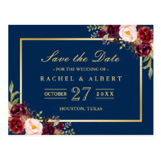 Burgundy Marsala Floral Gold Wedding Save The Date Postcard at Zazzle
