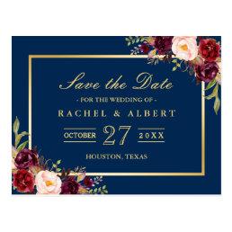 Burgundy Marsala Floral Gold Wedding Save the Date Postcard