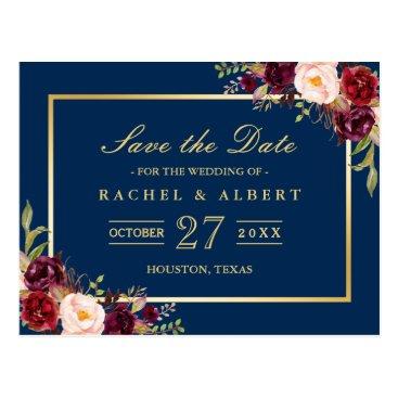 CardHunter Burgundy Marsala Floral Gold Wedding Save the Date Postcard