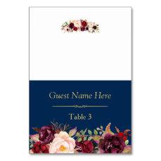 Burgundy Marsala Floral Navy Blue Wedding Place Card