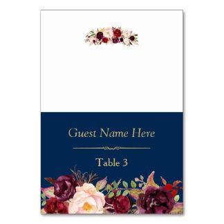 Burgundy Marsala Floral Navy Blue Wedding Place Table Number