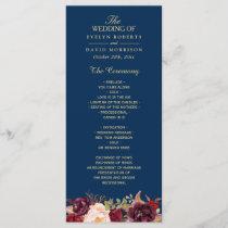 Burgundy Marsala Floral Navy Blue Wedding Program