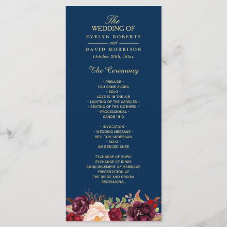 Burgundy Marsala Floral Navy Blue Wedding Program