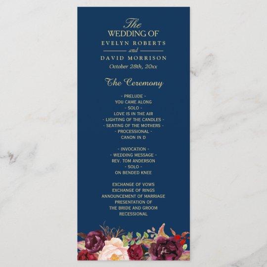 Burgundy Marsala Fl Navy Blue Wedding Program