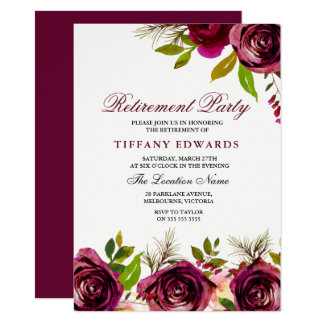 Burgundy Marsala Floral Retirement Party Invite