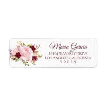 Burgundy Marsala Floral Return Address Label