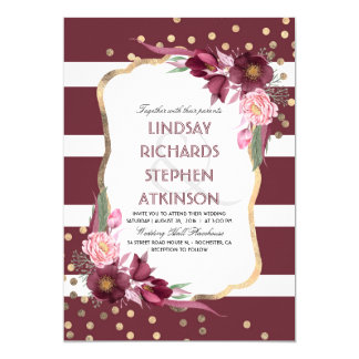 Burgundy Marsala Floral Stripes and Gold Wedding Card