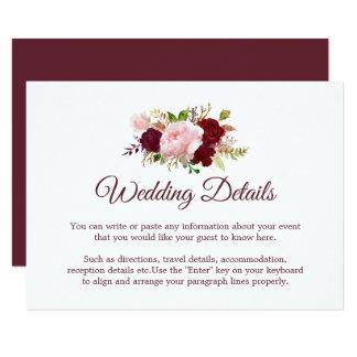 Burgundy Marsala Floral Wedding Detail Enclosure Card
