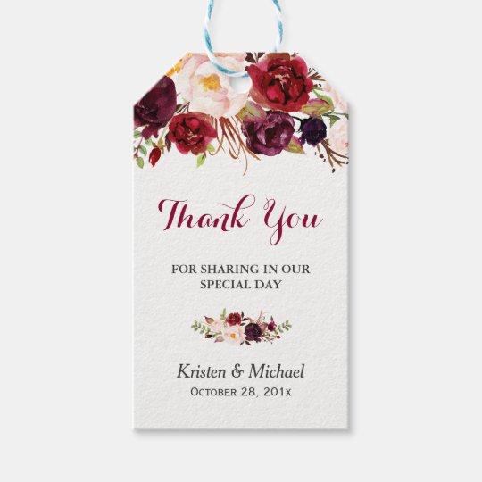 Wedding Thank You Gift Tags: Burgundy Marsala Floral Wedding Favor Thank You Gift Tags