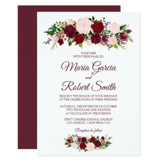 Burgundy Marsala Floral Wedding Invitation Card