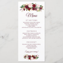 Burgundy Marsala Floral Wedding Menu
