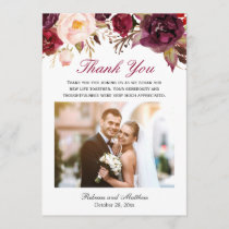 Burgundy Marsala Floral Wedding Photo Thank You