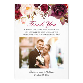 Burgundy Marsala Floral Wedding Photo Thank You Card
