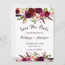 Burgundy Marsala Floral Wedding Save the Date