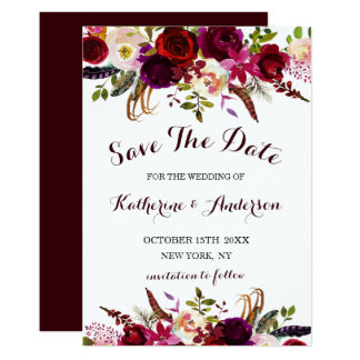 Burgundy Marsala Floral Wedding Save the Date Card