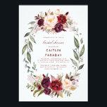 """Burgundy - Marsala Floral Wreath Bridal Shower Card<br><div class=""""desc"""">Vintage Marsala (burgundy) watercolor flowers wreath bridal shower invitations</div>"""