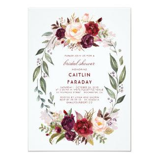 Burgundy - Marsala Floral Wreath Bridal Shower Card