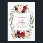 "Burgundy - Marsala Floral Wreath Bridal Shower Invitation<br><div class=""desc"">Vintage Marsala (burgundy) watercolor flowers wreath bridal shower invitations</div>"