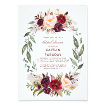 Burgundy - Marsala Floral Wreath Bridal Shower Invitation