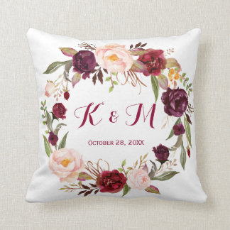Burgundy Marsala Floral Wreath Wedding Monogram Throw Pillow