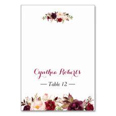 Burgundy Marsala Flowers Wedding Place Escort Card