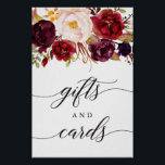 """Burgundy Marsala Gifts and Cards Sign<br><div class=""""desc"""">Help your guests easily find the gift table with this lovely sign!  Click here to see more in our Rustic Burgundy Marsala collection: https://www.zazzle.com/collections/rustic_burgundy_marsala-119549341348963566?rf=238534829419020154</div>"""