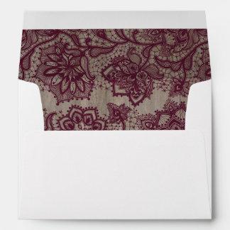 Burgundy - Marsala Lace Rustic Wood Envelope