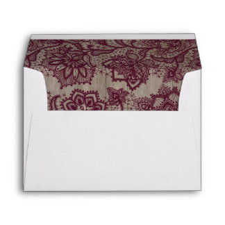 Burgundy - Marsala Lace Rustic Wood Envelope