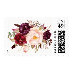 Burgundy Marsala Plum Pink Peony Rustic Flowers Postage
