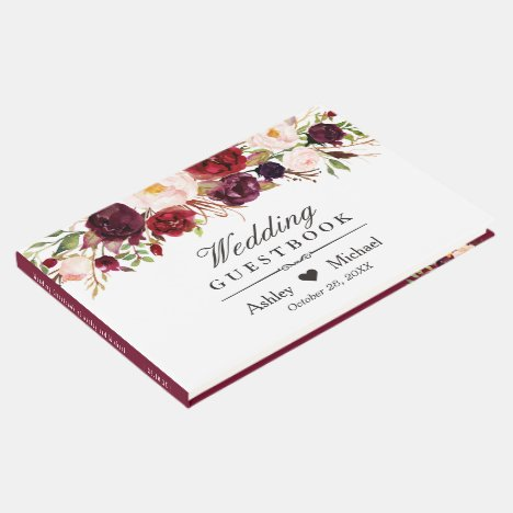 Burgundy Marsala Red Autumn Floral Wedding Guest Book