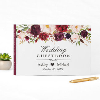 Burgundy Marsala Red Autumn Floral Wedding Guest Book