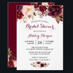 "Burgundy Marsala Red Floral Autumn Bridal Shower Card<br><div class=""desc"">================= ABOUT THIS DESIGN ================= Burgundy Marsala Red Floral Autumn Bridal Shower Invitation. (1) For further customization, please click the &quot;Customize&quot; button and use our design tool to modify this template. The background color and text styles are changeable. (2) If you prefer a thicker paper, you may consider to choose...</div>"