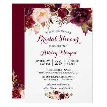 CardHunter Burgundy Marsala Red Floral Autumn Bridal Shower Card