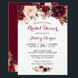 "Burgundy Marsala Red Floral Autumn Bridal Shower Invitation<br><div class=""desc"">Celebrate the bride-to-be with this &quot;Burgundy Marsala Red Floral Autumn Bridal Shower Invitation&quot; that match her style. You can easily personalize this template to be uniquely yours! (1) For further customization, please click the &quot;customize further&quot; link and use our design tool to modify this template. (2) If you prefer Thicker...</div>"