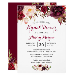 Burgundy Marsala Red Fl Autumn Bridal Shower Invitation